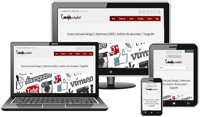 Responsive web design: siteul isi schimba afisarea in functie de rezolutie